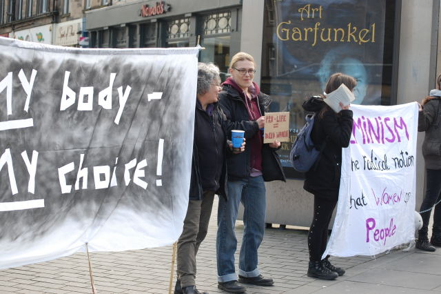 Campaigners from the Dundee Abortion Rights group with banners at the 2015 celebration. Photo: Norman Lockhart